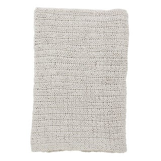 Cotton Throw Blanket With Single Line Cable Knitting
