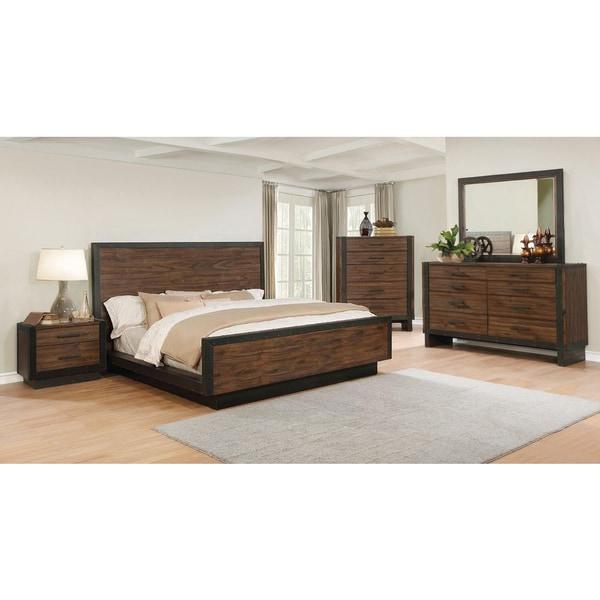 Ellie 6 Piece Bourbon Brown Acacia Wood/ Metal Bedroom Set
