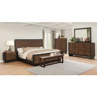 Ellie 7-piece Bourbon Brown Acacia Wood/ Metal Bedroom Set