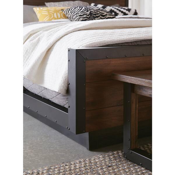 Shop Ellie 8-piece Bourbon Brown Acacia Wood/ Metal Bedroom ...