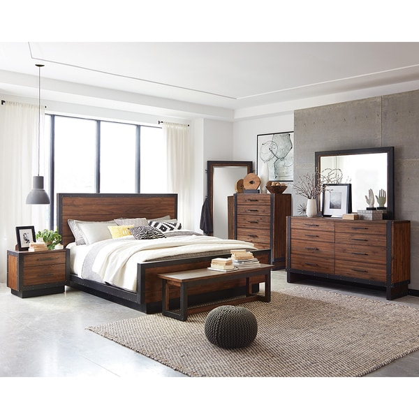Shop Ellie 8-piece Bourbon Brown Acacia Wood/ Metal Bedroom Set - On ...