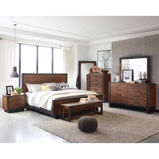 Ellie 6-piece Bourbon Brown Acacia Wood/ Metal Bedroom Set - Free ...