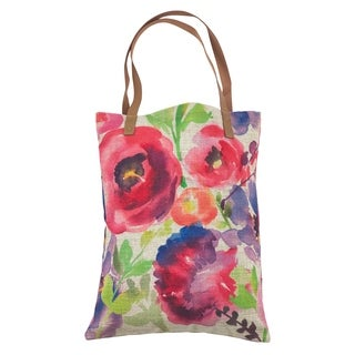 Watercolor Floral Market Shopper Handbag or Tote - M