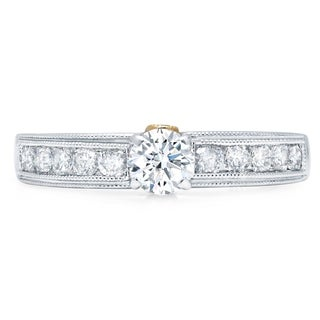 LeZari & Co. 1.00ct. TDW Cathedreal Channel Set Classic Round Diamond Engagement Ring Antique Millgrain Edge 14K White Gold