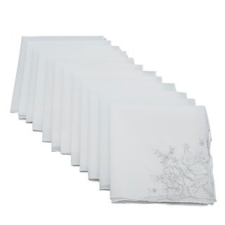 Handmade Cotton Handkerchief With Floral Embroidery - set of 12 pcs