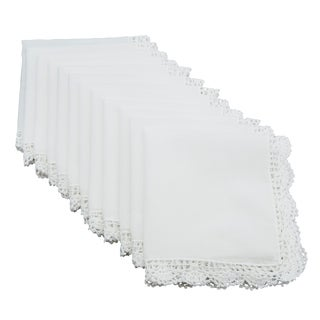 Crochet Lace Trim Cotton Handkerchief (Set of 12)