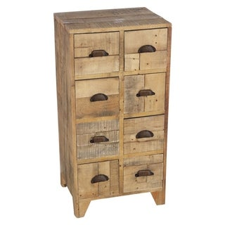 Three Hands Weathered Natural Wood Chest with Drawers