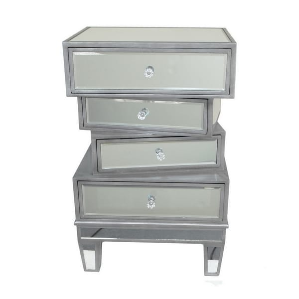 Three Hands Silvertone Wood Beveled Mirror Cabinet