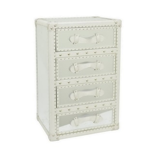 Three Hands White Wood and Faux Leather Cabinet