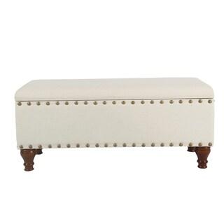HomePop Large Storage Bench with Nailhead Trim - Cream