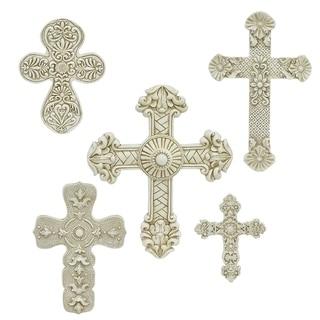 Three Hands Set Of Five Cross -Ivory