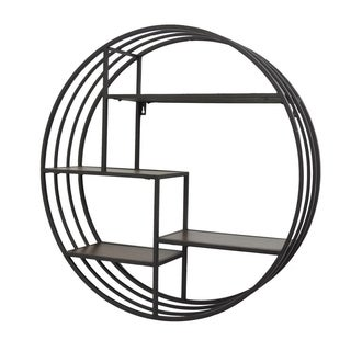 Three Hands Brown Metal Wall Rack with Wood Shelves