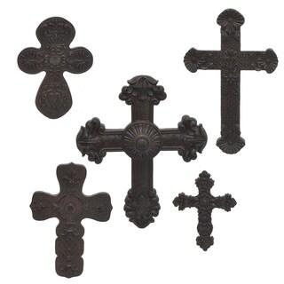 Three Hands Set Of Five Cross -Rust
