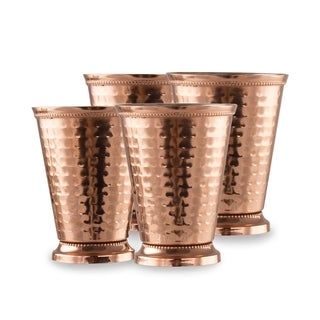 4 Pack Copper Coated Hammered Stainless Steel 12 Oz. Mint Julep Cup