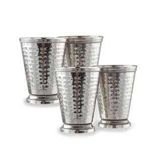 4 Pack Hand Crafted Hammered Stainless Steel 12 Oz. Mint Julep Cup