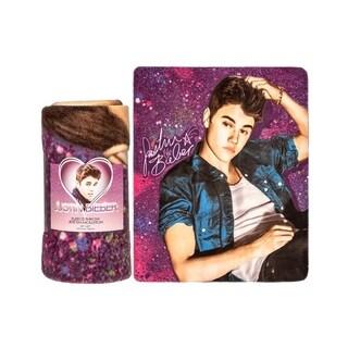 Justin Bieber Fleece Throw Blanket-Spraypaint Purple