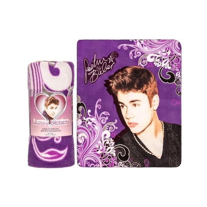 Justin Bieber Fleece Throw Blanket-Scrolly Purple