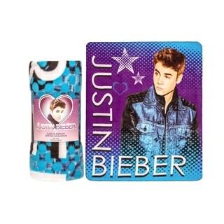 Justin Bieber Fleece Throw Blanket-Halftone Blue