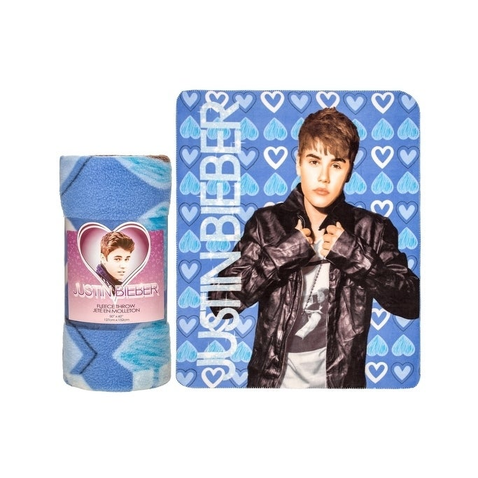Justin Bieber Fleece Throw Blanket-Heart of Blue