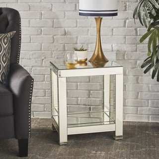 Eaden Mirrored Side End Table by Christopher Knight Home