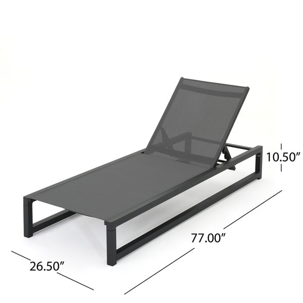 modesta outdoor aluminum mesh chaise lounge set of 2 by christopher knight home free shipping today