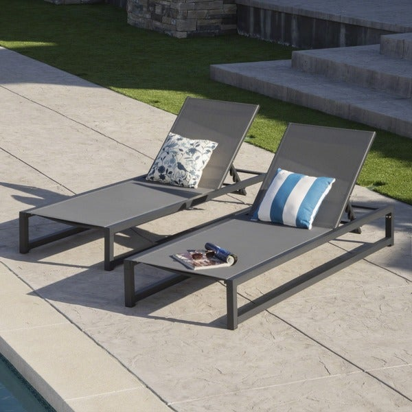 Modesta Outdoor Aluminum Mesh Chaise Lounge (Set of 2) by Christopher Knight Home