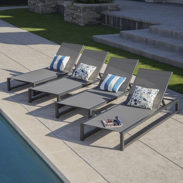 Modesta Outdoor Aluminum Mesh Chaise Lounge (Set of 4) by Christopher Knight Home