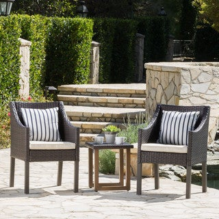 Petra Outdoor 3-Piece Wicker Aluminum Bistro Chat Set with Cushions by Christopher Knight Home