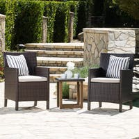Sernos Outdoor 3-Piece Wicker Aluminum Bistro Chat Set with Cushions by Christopher Knight Home