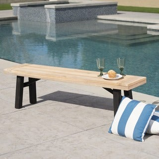 Bettina Outdoor Acacia Wood Rustic Bench by Christopher Knight Home