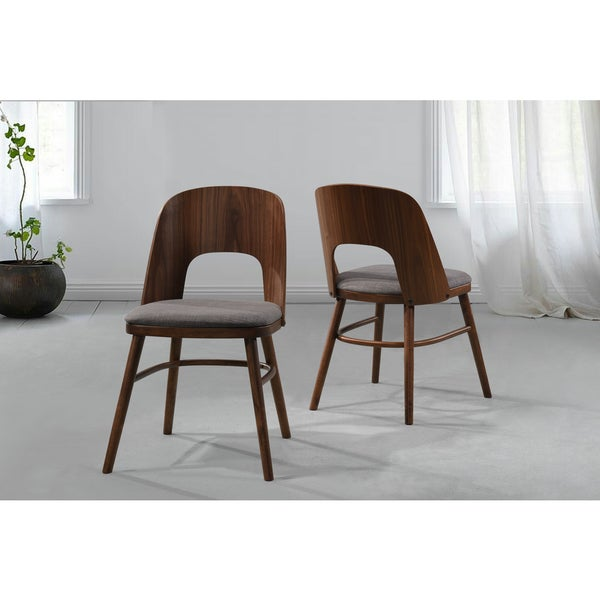 handy living georgetown grey linen wood armless dining chairs set