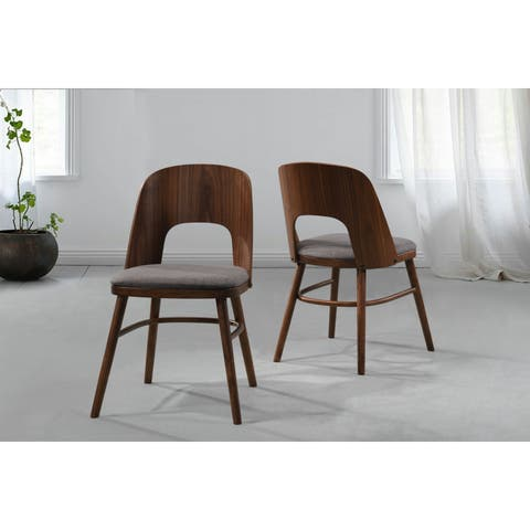 Handy Living Georgetown Grey Linen/Wood Armless Dining Chairs (Set of 2)