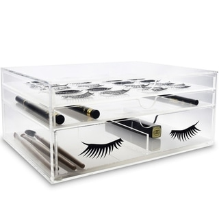 "Ikee Design Acrylic False Eye Lashes Extensions Holder Makeup Organizer 9 3/4""W x 7 1/8""D x 4 1/8""H - Clear"