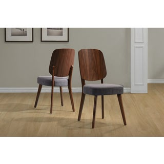 Handy Living Georgetown Grey Linen and Wood Back Armless Dining Chairs (Set of 2)