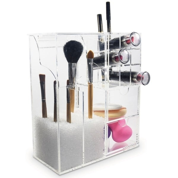 ikee design acrylic makeup brush holder cosmetic organizer 7 3 8 w x 3 5 8 d x 8 5 8 h clear. Black Bedroom Furniture Sets. Home Design Ideas