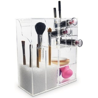 """Ikee Design Acrylic Makeup Brush Holder Cosmetic Organizer 7 3/8""""W x 3 5/8""""D x 8 5/8""""H - Clear"""