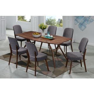 Handy Living Georgetown 7 Piece Grey And Dark Walnut Mid Century Modern Dining Set