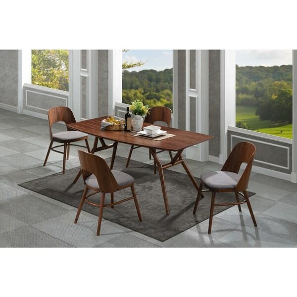 Handy Living Georgetown 5 Piece Grey And Dark Walnut Mid Century Modern  Dining Set