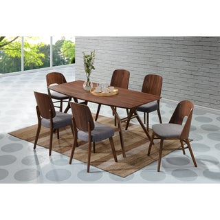 Handy Living Georgetown 7-piece Grey and Dark Walnut Mid Century Modern Dining Set