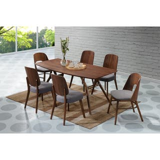 Handy Living Georgetown 7 piece Grey and Dark Walnut Mid Century Modern  Dining Set. Modern Dining Room Sets For Less   Overstock com