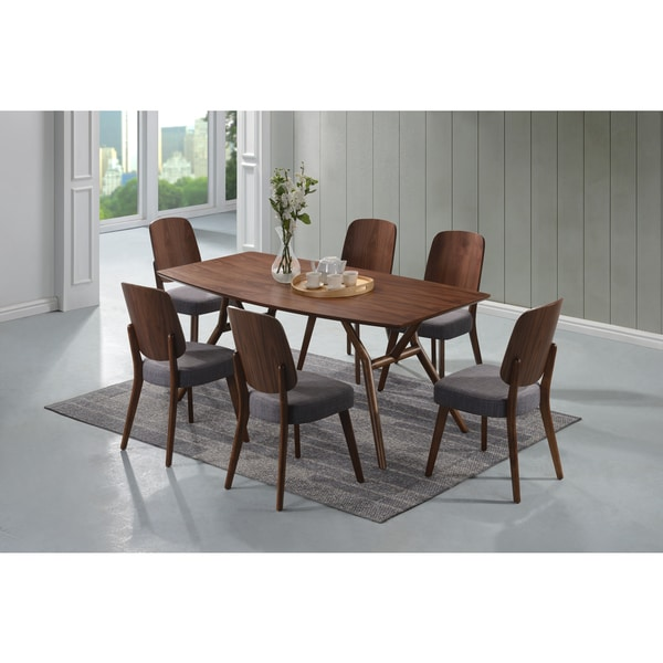 Mid Century Modern Dining Set: Shop Handy Living Georgetown 7-piece Grey And Dark Walnut