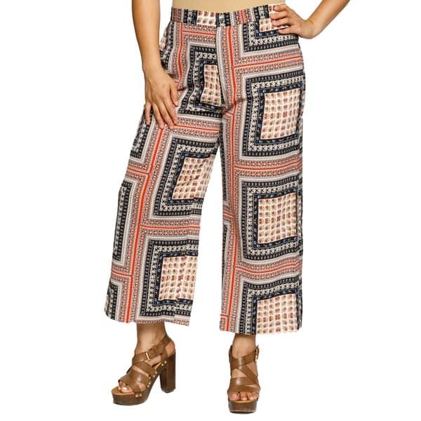 4284a0c303f Xehar Womens Plus Size Square Printed Palazzo Wide Leg Fashion Pants ...