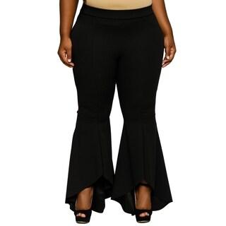 Xehar Womens Plus Size Sexy High Waisted Ruffled Bell Bottom Pants