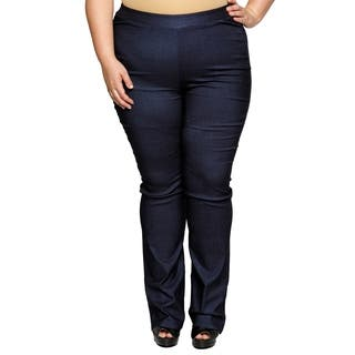 Xehar Womens Plus Size Side Zip Career Bootleg Trouser Relax Fit Pants|https://ak1.ostkcdn.com/images/products/18150538/P24300598.jpg?impolicy=medium