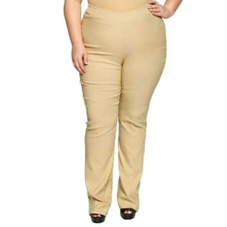 Xehar Womens Plus Size Side Zip Career Bootleg Trouser Relax Fit Pants|https://ak1.ostkcdn.com/images/products/18150542/P24300602.jpg?impolicy=medium
