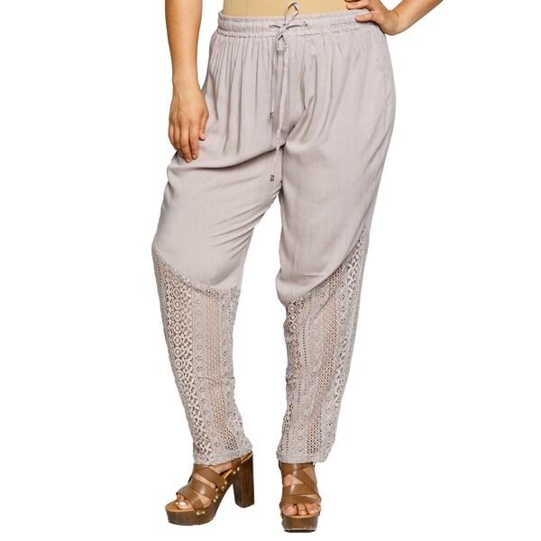 e254856db16 Shop Xehar Womens Plus Size Casual Elastic Crochet Lace Hem Harem ...