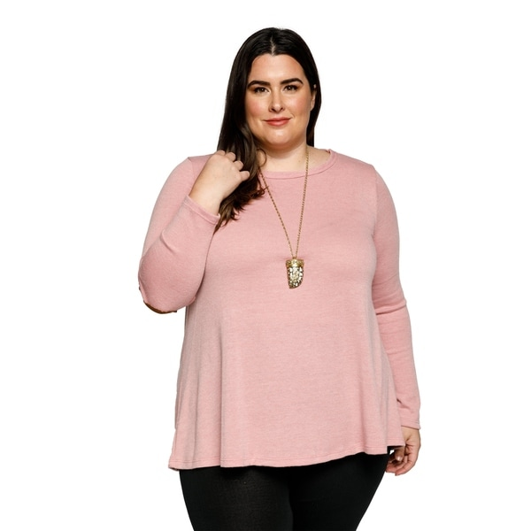Shop Xehar Womens Plus Size Casual Long Sleeve Elbow Patch Sweater