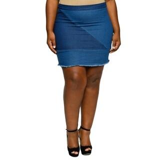 Xehar Womens Plus Size Stylish Color Block Denim Skirt