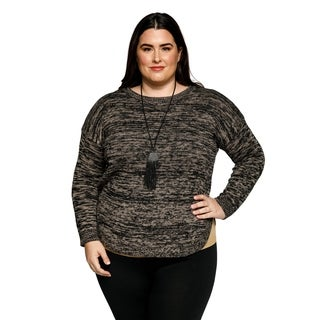 Xehar Womens Plus Size Heathered Rounded Hem Pullover Sweater