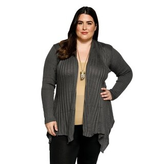 Xehar Womens Plus Size Asymmetrical Ribbed Knit Cardigan Sweater